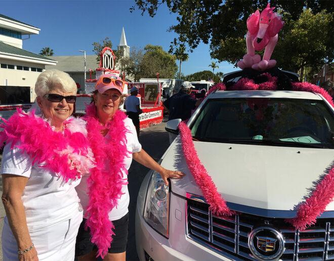 parade following-pink flamingos-fmb community foundation