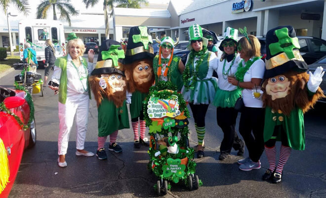 st patricks day parade-fmb community foundation-members dressed up