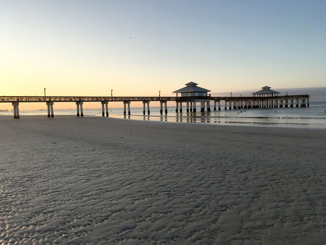 wide view of fort myers beach and the pier