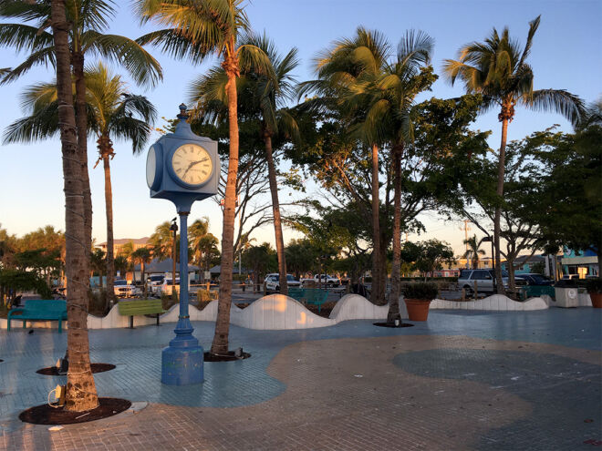 times square clock on fort myers beach
